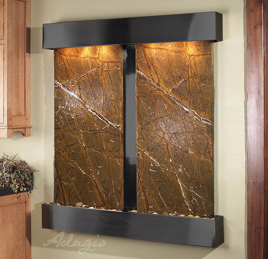 Cottonwood Falls Wall Water Feature With Brown Marble And
